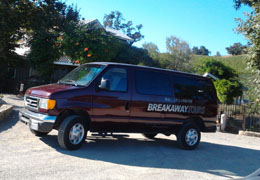Breakaway Tours 11 paasenger van at Justin Winery, Paso Robles