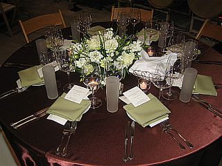 Formal dining table at Zaca Mesa Winery
